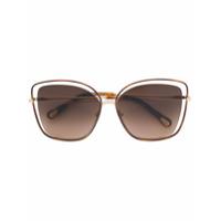 Chloé Eyewear Óculos De Sol Oversized - Metallic
