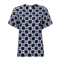 Emilio Pucci Camiseta De Seda Xadrez - Preto