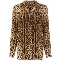 Dolce & Gabbana Camisa Animal Print De Seda - Brown
