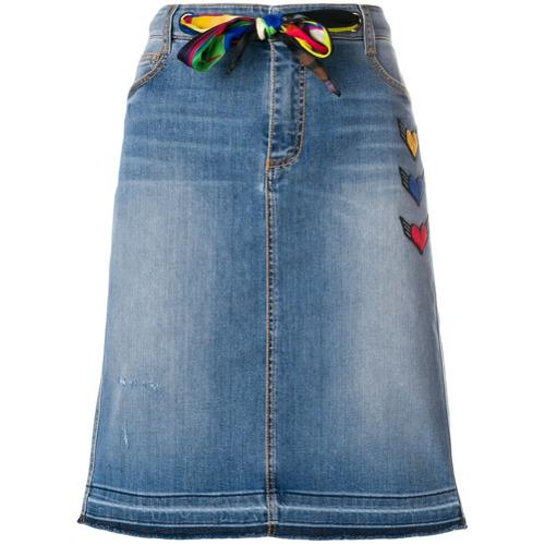 Imagem de Ermanno Scervino Saia jeans bordada 'Heart' - Azul