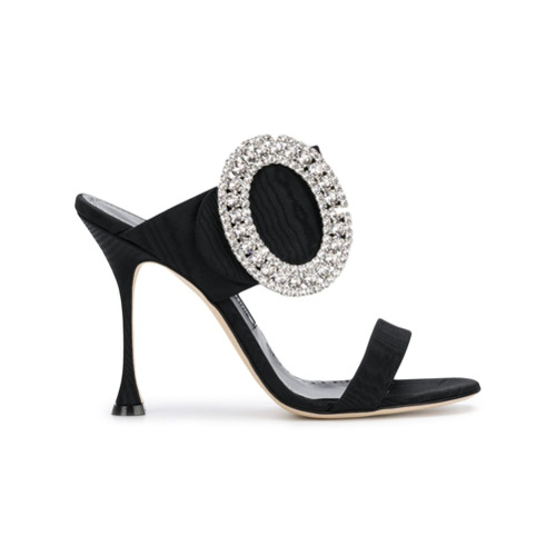 Black leather and silk satin oversized buckle sandals from Manolo Blahnik featuring an open toe, a slip-on style, a high...