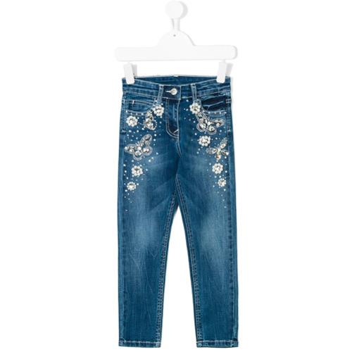 Monnalisa Calça jeans com aplicação de pérolas - Azul