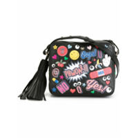 Anya Hindmarch Bolsa Transversal De Couro Modelo 'all Over Stickers' - Preto