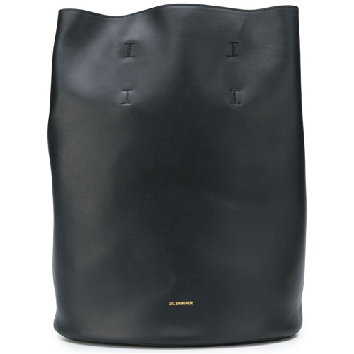 Black leather bucket backpack from Jil Sander featuring adjustable shoulder  straps and an open top design 3f208c67b56