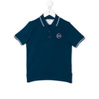 Boss Kids Camisa Polo Com Acabamento De Listras - Azul