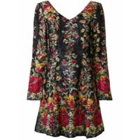 Anna Sui Vestido Floral - Preto