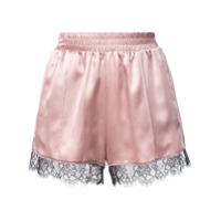 Fleur Du Mal Shorts 'margo' De Renda E Seda - Pink & Purple