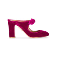 Aquazzura Mule De Veludo 'sandy 85' - Pink & Purple