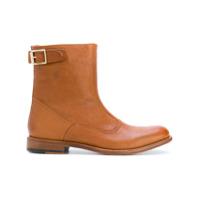 Paul Smith Ankle Boot De Couro Com Detalhe De Fivela - Brown