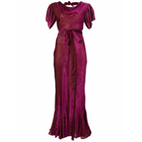 Attico Vestido De Festa De Seda Com Cinto - Pink & Purple
