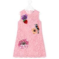 Dolce & Gabbana Kids Vestido Com Aplicação Floral - Pink & Purple