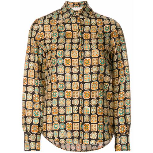 La Doublej Camisa de seda 'Piastrelle' - Brown