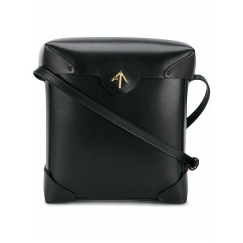 Bolsa de couro tiracolo preta, Manu Atelier.
