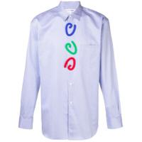 Comme Des Garçons Shirt Striped Print Shirt - Azul