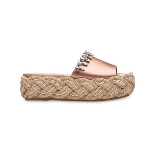 Imagem de Miu Miu crystal-embellished espadrille sandals - Pink & Purple
