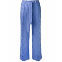Etro Calça Pantalona De Seda Cropped - Pink & Purple