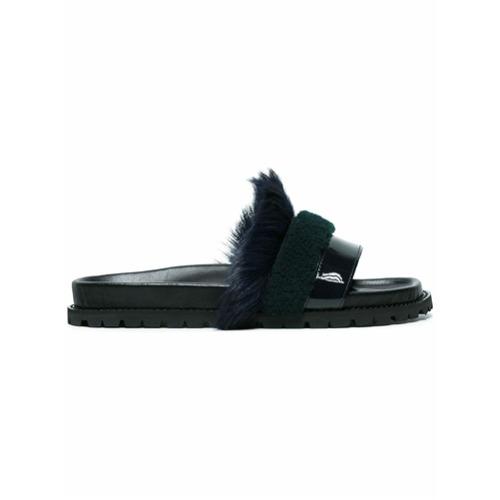 Imagem de Sacai leather and fur slippers - Preto