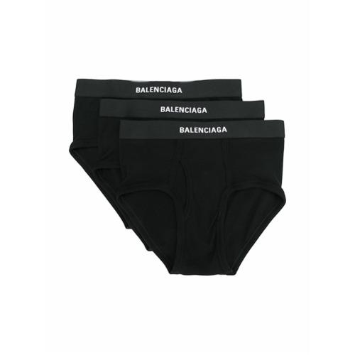 Imagem de Balenciaga Conjunto com 3 cuecas caneladas com logo - Preto