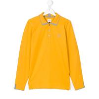 Armani Junior Camisa Polo Mangas Longas - Amarelo E Laranja