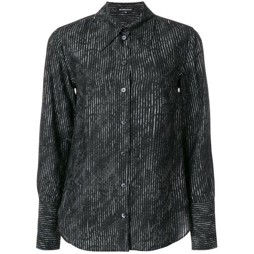 Imagem de Ann Demeulemeester Camisa slim fit de seda listrada - Preto