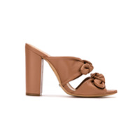 Schutz Sandália Mule De Couro Double Boe High Heel - Brown