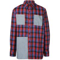 3.paradis Camisa Xadrez De Lã Com Patches - Vermelho