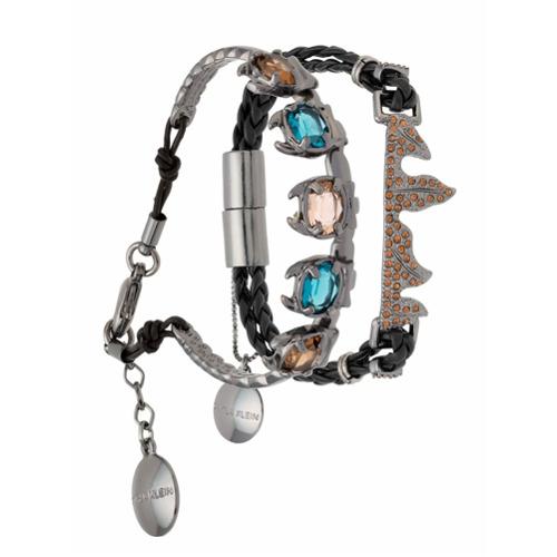 Imagem de Calvin Klein Kit 2 pulseiras com couro - Metallic