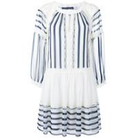 Alberta Ferretti Vestido Listrado - Branco