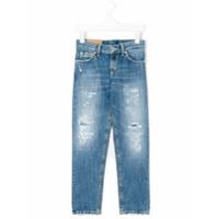 Dondup Kids Calça Jeans Com Detalhes Desfiados - Azul