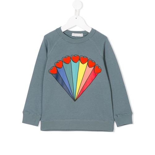Stella Mccartney Kids Blusa de moletom 'Betty Rainbows and Hearts' - Azul