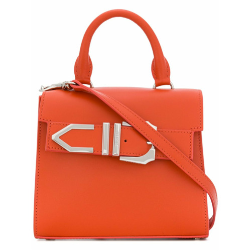 Orange leather Iconic Buckle tote from Versus.