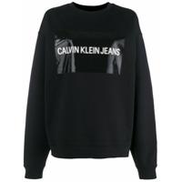 Calvin Klein Jeans Moletom Com Patch De Logo - Preto