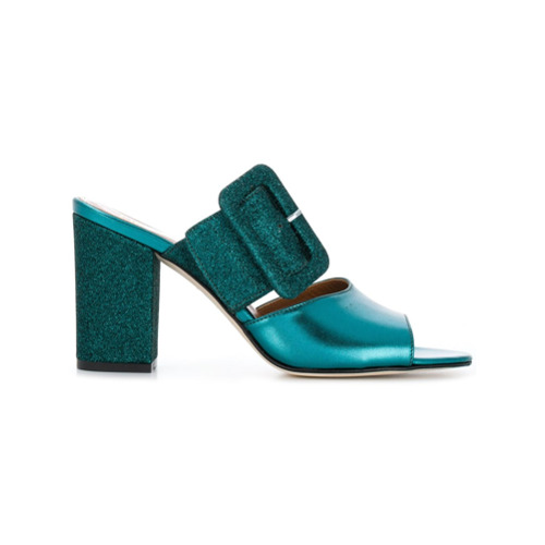 Petrol green calf leather and leather glitter buckle mules from paris texas featuring an open toe, a backless design, a...