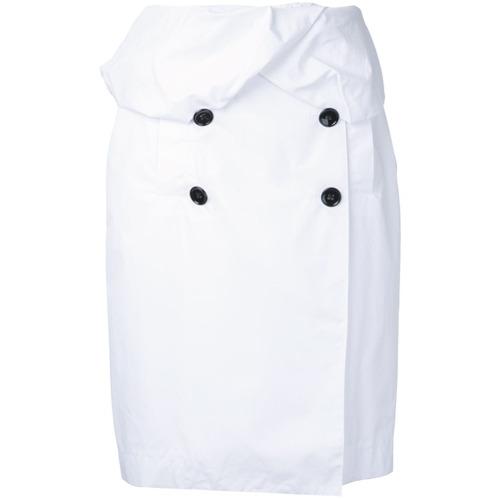 Saia com abotoamento duplo branca e preta em algodão, Proenza Schouler. Possui fechamento por botões e modelagem slim.