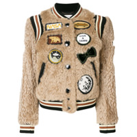 Coach Jaqueta Bomber Com Patches - Brown