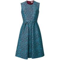 Delpozo Vestido Texturizado Com Estampa - Azul
