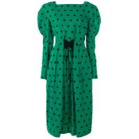Push Button Vestido De Seda Estampado - Green