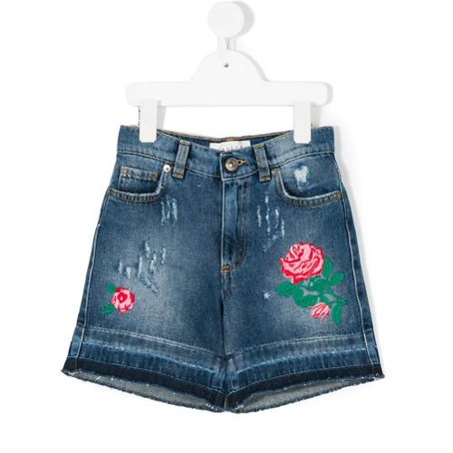 Gaelle Paris Kids Shorts jeans bordado - Azul