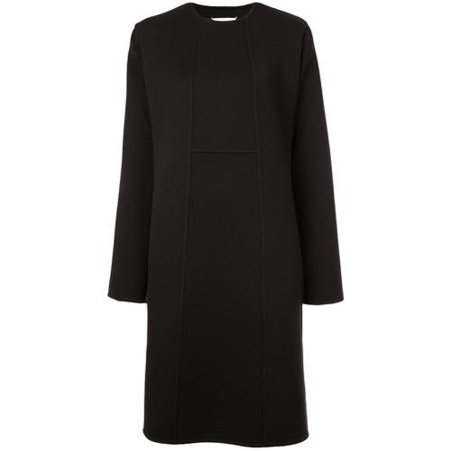 Vestido evasê com colarinho preto em lã e seda, Maison Margiela. Possui mangas longas.