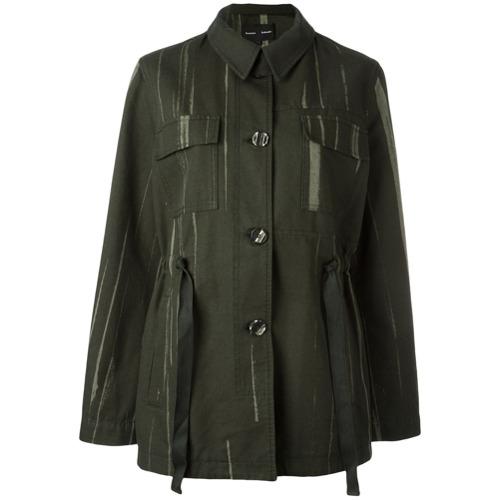 Jaqueta abotoada com bolsos verde em algodão, Proenza Schouler. Possui gola colarinho, fechamento frontal por botões, ma...
