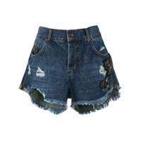 Animale Short Jeans Bordado - Azul