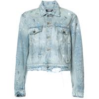 Amiri Jaqueta Jeans Com Respingos - Azul