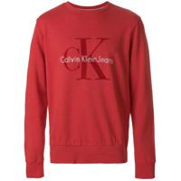 Ck Jeans Moletom Com Estampa De Logo - Vermelho