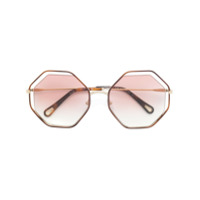 Chloé Eyewear Óculos De Sol Com Armação Octagonal - Metallic