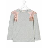 Elisabetta Franchi La Mia Bambina Camiseta Mangas Longas Com Patch De Estrela - Grey