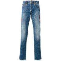 Philipp Plein Calça Jeans Reta 'flame' - Azul