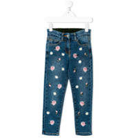 Monnalisa Calça Jeans Bordada - Azul