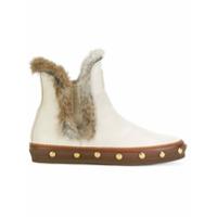 Baldinini Ankle Boot De Couro Com Tachas - Branco