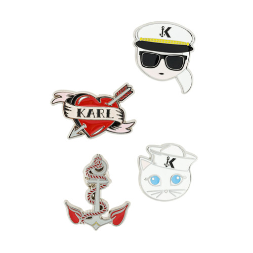 Imagem de Karl Lagerfeld Conjunto 4 broches 'Captain Karl' - Estampado