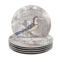 Fornasetti Conjunto De Pratos De Porcelana Estampados - Grey